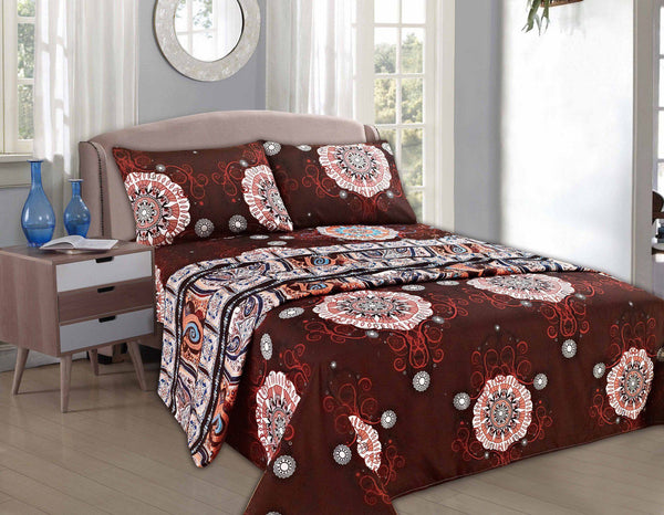 Bed Sheet - Tache 2-3 PC Burgundy Palace Fancy Floral Patterned Flat Sheet Set