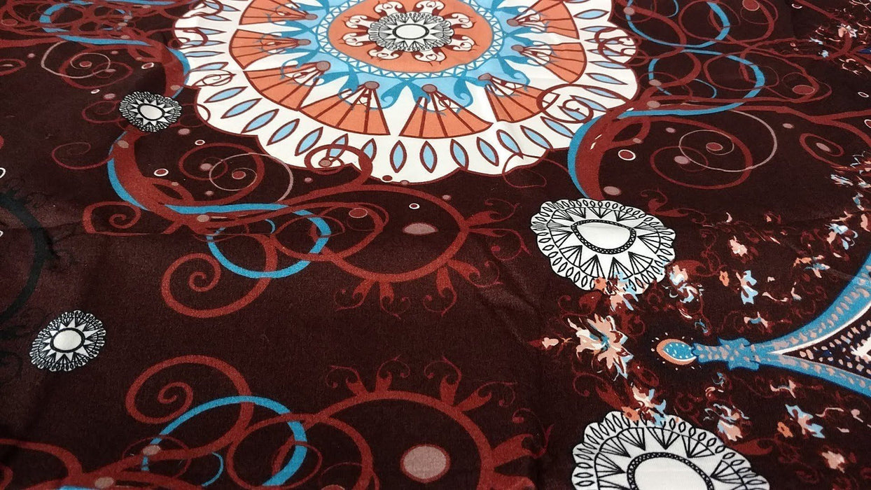 Tache Burgundy Palace Paisley Medallion Flat Sheet (2810FLT) - Tache Home Fashion