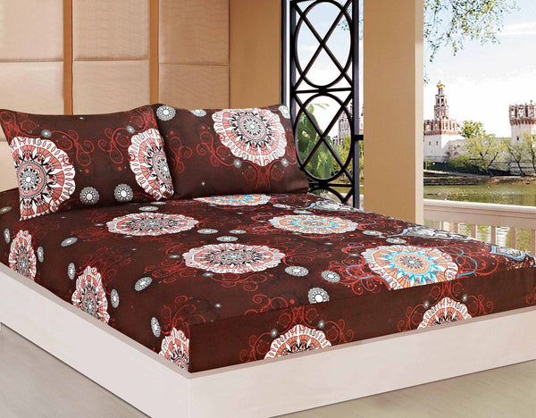 Bed Sheet - Tache 2-3 PC Burgundy Palace Fancy Paisley Patterned Fitted Sheet Set