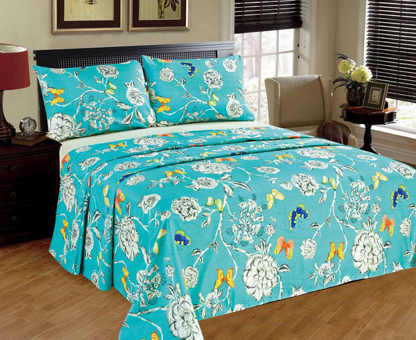 Bed Sheet - Tache 2-3 PC Cotton Butterfly Wonderland Blue Floral Colorful Girly Flat Sheet Set