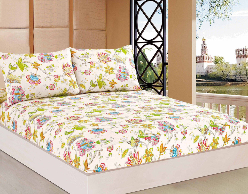 Bed Sheet - Tache 2-3 PC Cotton Quiet Morning Garden Floral Cream Girly Colorful Fitted Sheet Set