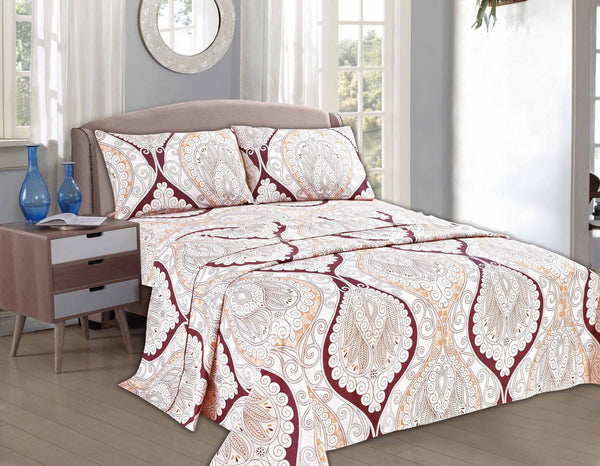 Bed Sheet - Tache 2-3 PC Maroon Mandala Fancy Paisley Patterned Flat Sheet Set