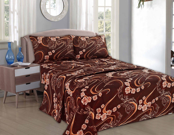 Bed Sheet - Tache 2-3 PC Melted Gold Brown Pink Rose Floral Flat Sheet Set