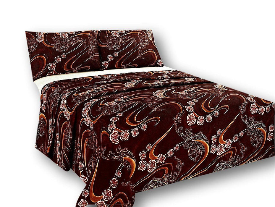Tache Melted Gold Brown Floral Flat Sheet (2815FLT) - Tache Home Fashion