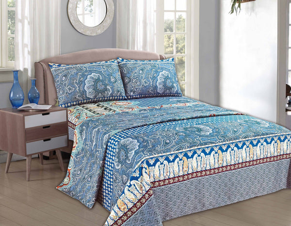 Bed Sheet - Tache 2-3 PC Paisley Monarch Luxurious Blue Fancy Floral Flat Sheet Set