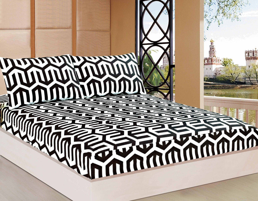Bed Sheet - Tache 2-3 PC Sophisticated Condo Monochrome Black White Fancy Fitted Sheet Set
