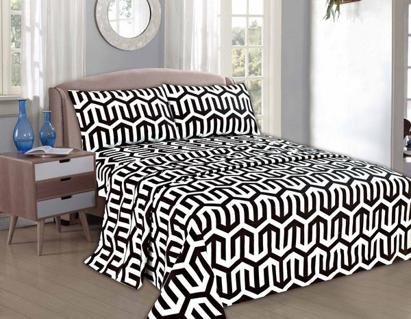 Bed Sheet - Tache 2-3 PC Sophisticated Condo Monochrome Black White Fancy Flat Sheet Set