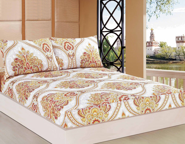 Bed Sheet - Tache 2-3 PC Sunshine Festival White Gold Fancy Patterned Fitted Sheet Set