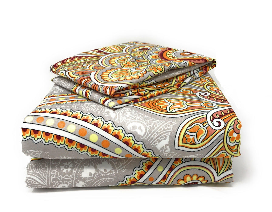 Tache 2-3 PC Sunshine Festival White Gold Fancy Patterned Fitted Sheet Set (TA2811FIT) - Tache Home Fashion