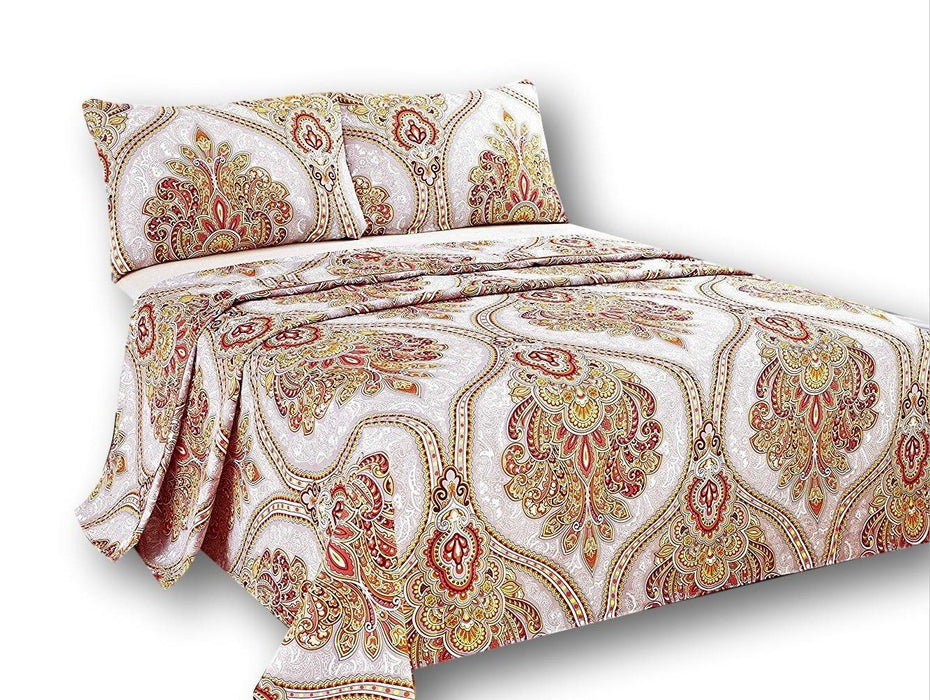 Tache 2-3 PC Sunshine Festival White Gold Fancy Patterned Flat Sheet Set (TA2811FLT) - Tache Home Fashion