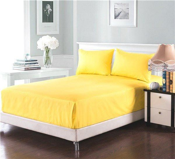 Bed Sheet - Tache 2-3 Piece Banana Yellow Bed Sheet Set (Fitted Sheet)