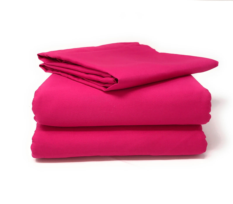 Tache 2-3 Piece Cotton Solid Hot Pink Superstar Bed sheet (Flat Sheet) (TABS3PC-PIFL) - Tache Home Fashion