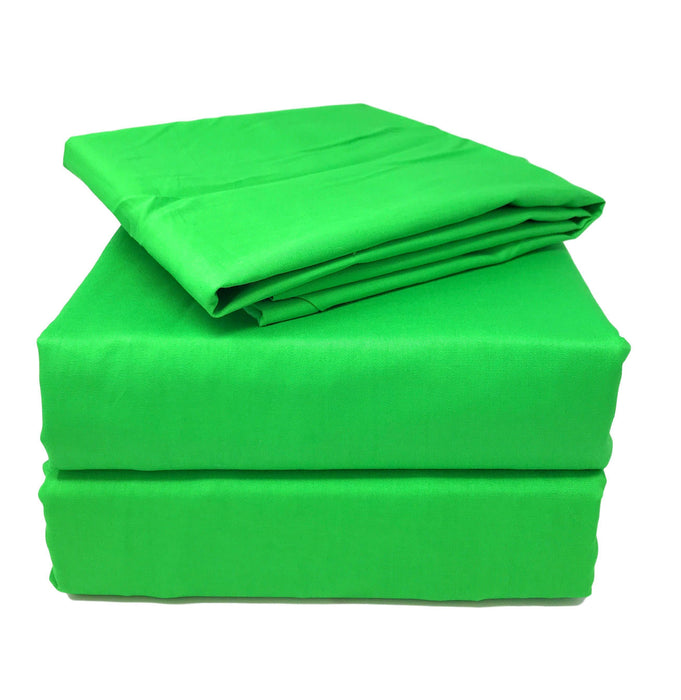 Tache 2 3 Piece Cotton Solid Lime Green Bed Sheet (Flat Sheet) ...