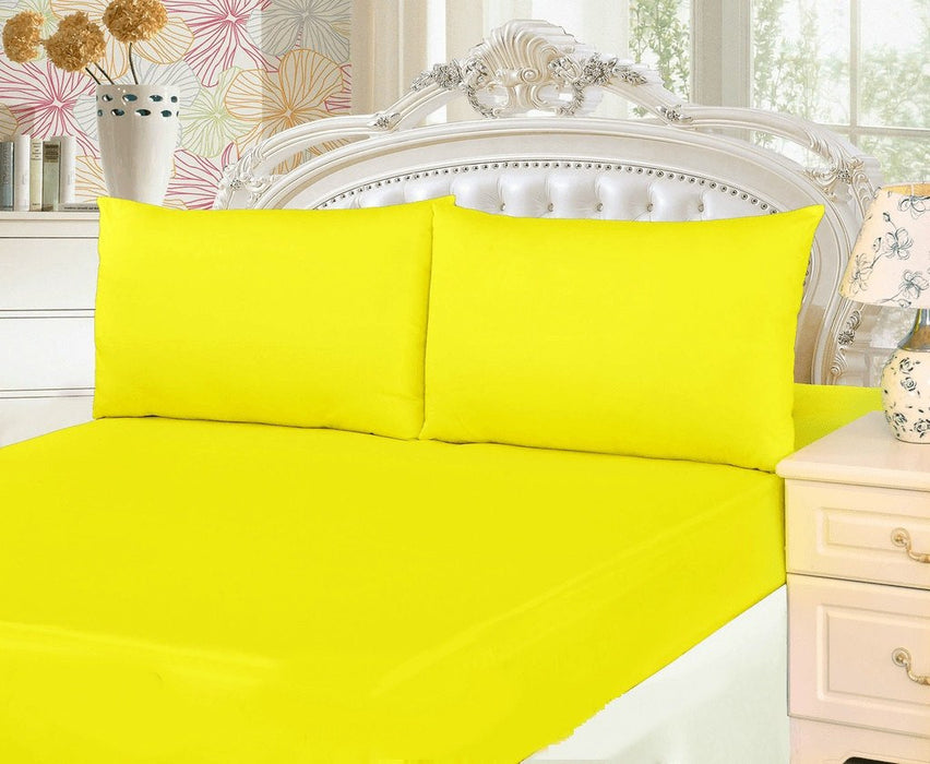 ... Tache 2 3 Piece Cotton Lemon Drop Yellow Bed Sheet (Fitted Sheet) ...