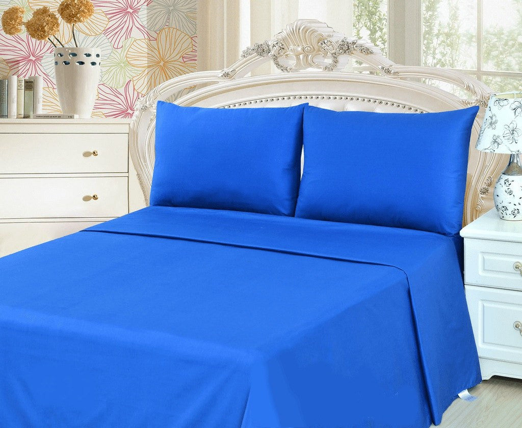 Bed Sheet - Tache 2 To 3 PC Cotton Solid Deep Blue Bed Sheet Set (Flat Sheet)