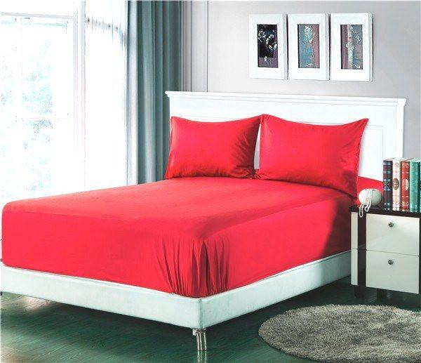 Bed Sheet - Tache 2 To 3 PC Cotton Solid Vibrant Red Bed Sheet Set (Fitted Sheet)