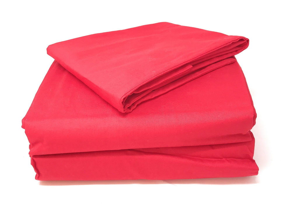 Tache Cotton Vibrant Red Fitted Sheet (BS3PC-R) - Tache Home Fashion
