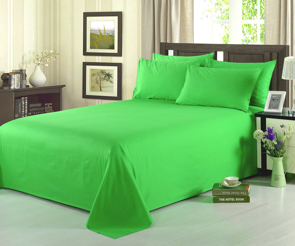 Bed Sheet - Tache 3-4 Piece 100% Cotton Solid Lime Green Bed Sheet Set