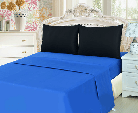 Tache 3-4 Piece Deep Blue/Black Bed Sheet set (BS4PC-BB) - Tache Home Fashion