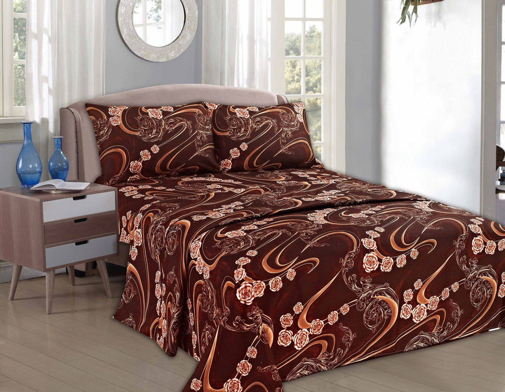 Bed Sheet - Tache 3-4 Piece Melted Gold Brown Floral Fitted And Flat Sheet Set