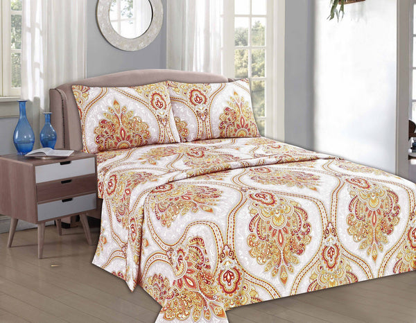 Bed Sheet - Tache 3-4 Piece  Sunshine Festival White Gold Fancy Patterned Fitted And Flat Sheet Set