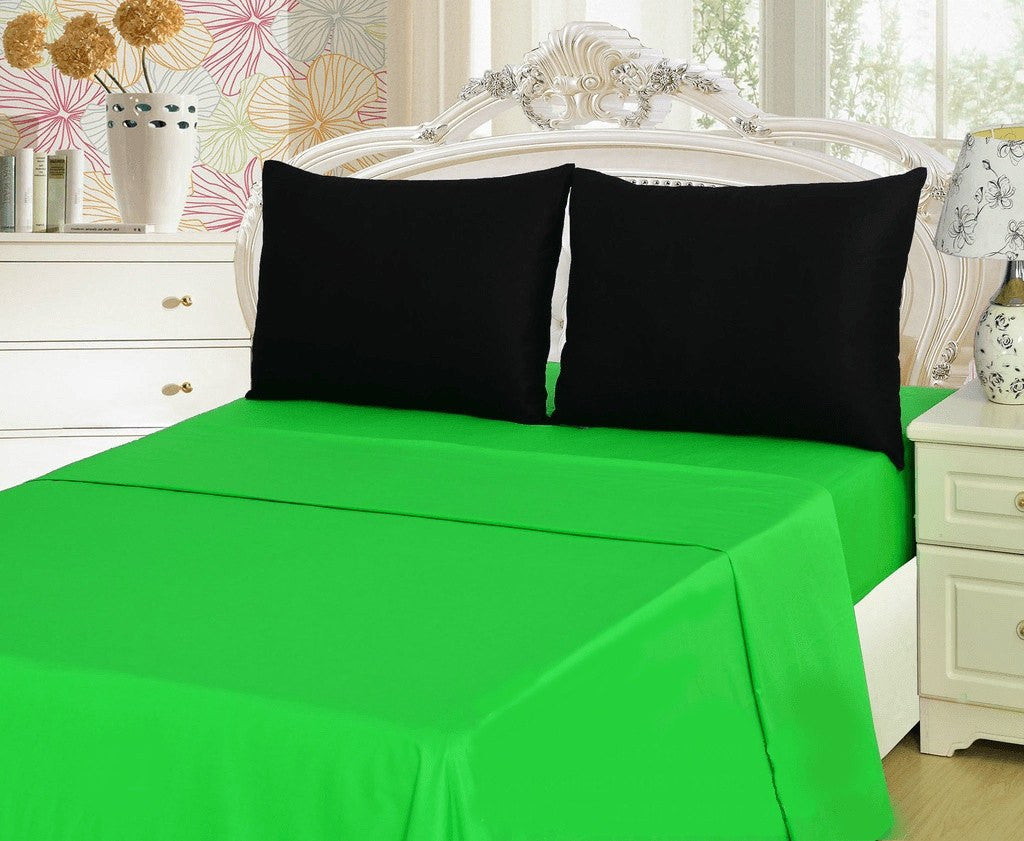 Bed Sheet - Tache 3-4 Pieces Lime Green & Black Bed Sheet Set