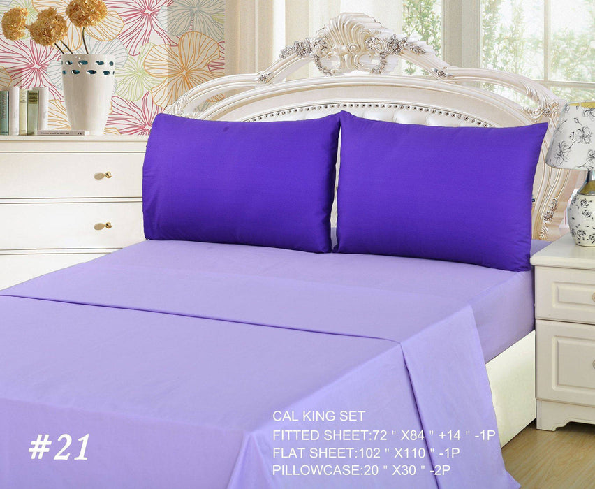 Tache 3 to 4 PC Cotton Solid Lavender Dream Dark Purple/ Light Purple Bed Sheet Set (BS4PC-PP) - Tache Home Fashion