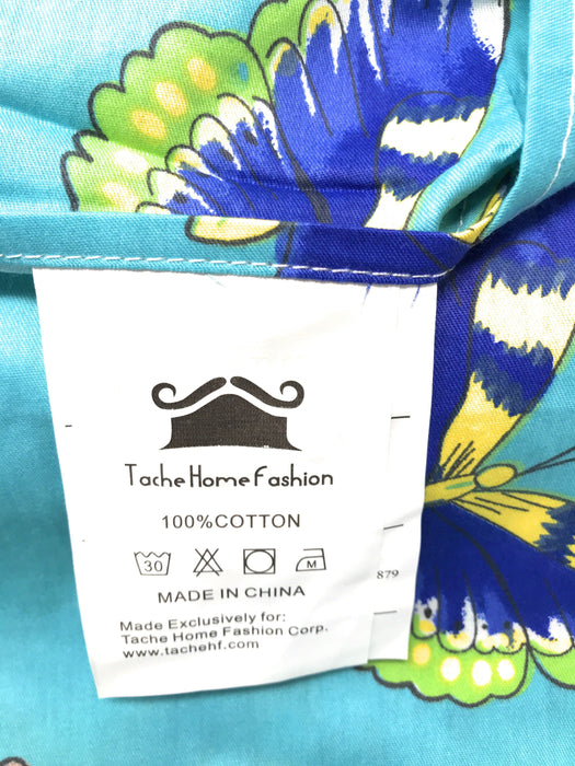 Tache Butterfly Wonderland Cotton Aqua Floral Fitted Sheet (2142FIT) - Tache Home Fashion