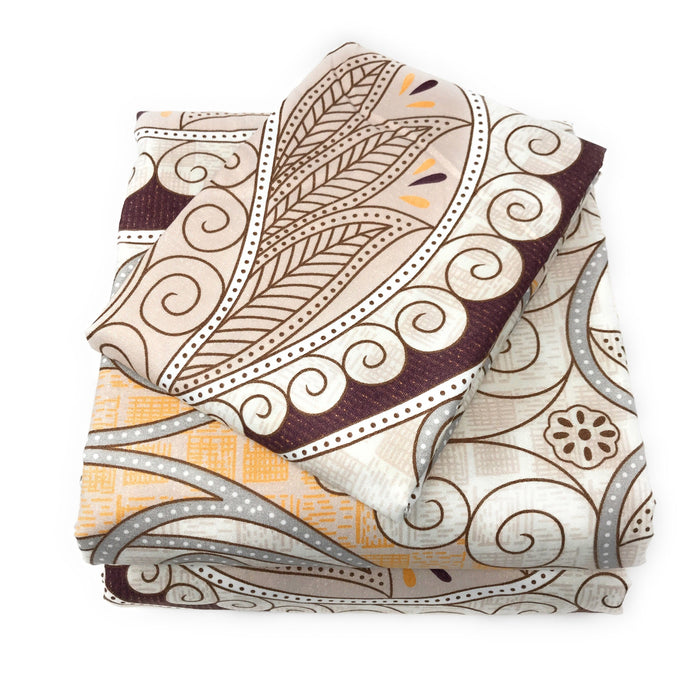 Tache Maroon Mandala Ivory Damask Fitted Sheet (2131FIT) - Tache Home Fashion