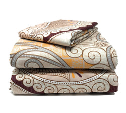 Tache Maroon Mandala Ivory Damask Flat Sheet (2131FLT) - Tache Home Fashion