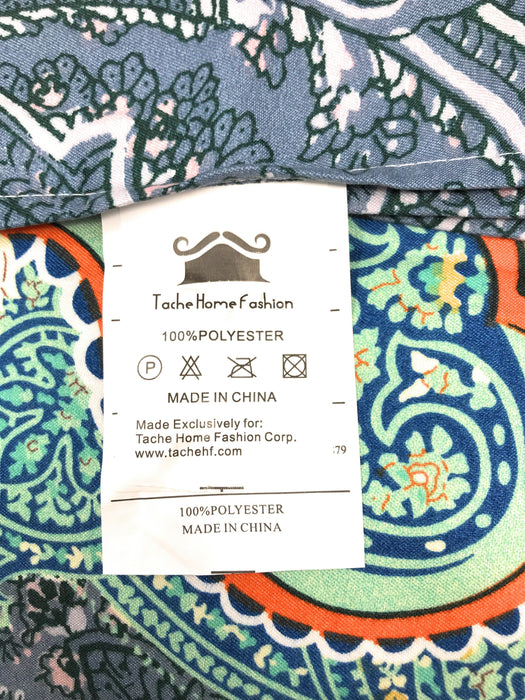 Tache Paisley Monarch Teal Bohemian Bed Sheet Set (2814FITFLT) - Tache Home Fashion