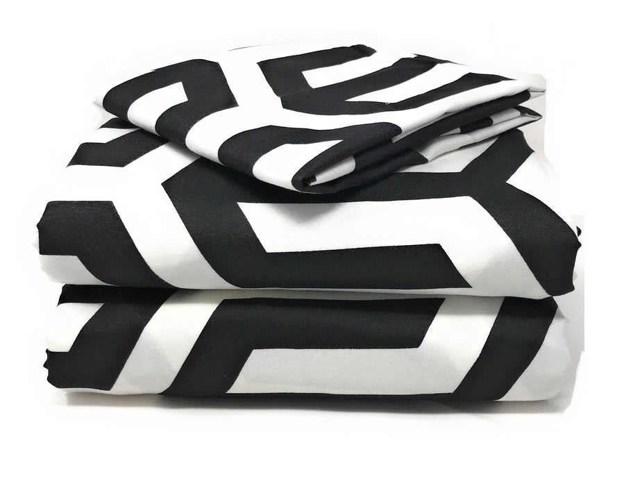 Tache Sophisticated Condo Black and White Bed Sheet Set (2141FITFLT) - Tache Home Fashion