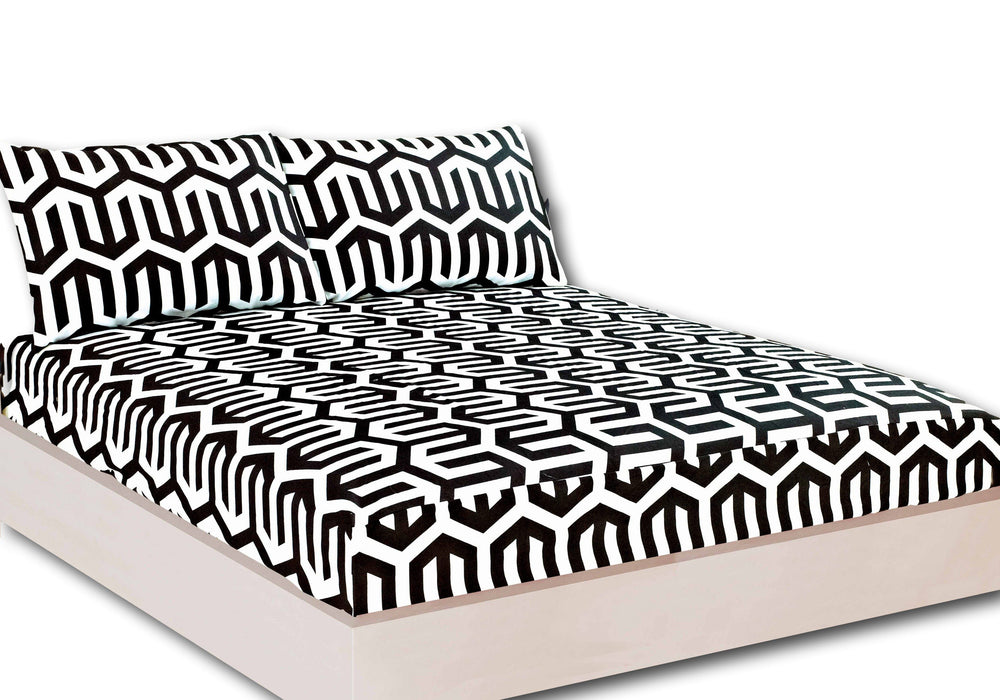 Tache Sophisticated Condo Black and White Fitted Sheet (2141FIT) - Tache Home Fashion