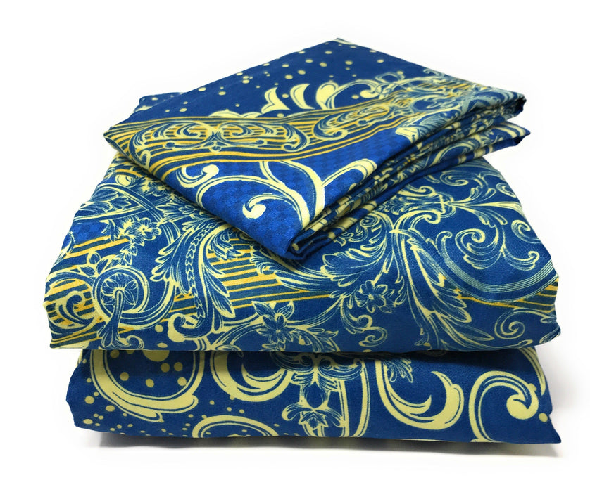 Tache Star Gazing Blue Damask Bed Sheet Set (2133FITFLT) - Tache Home Fashion
