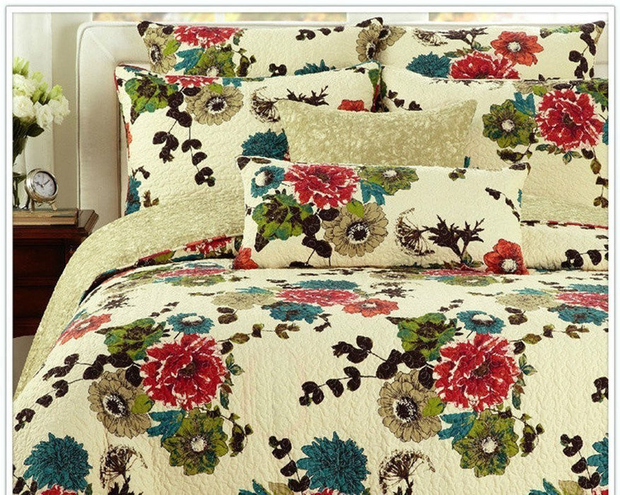 Tache Cotton Red Blue Green Floral Ivory Scalloped Spring Country Garden Bedspread Set (HS7607) - Tache Home Fashion