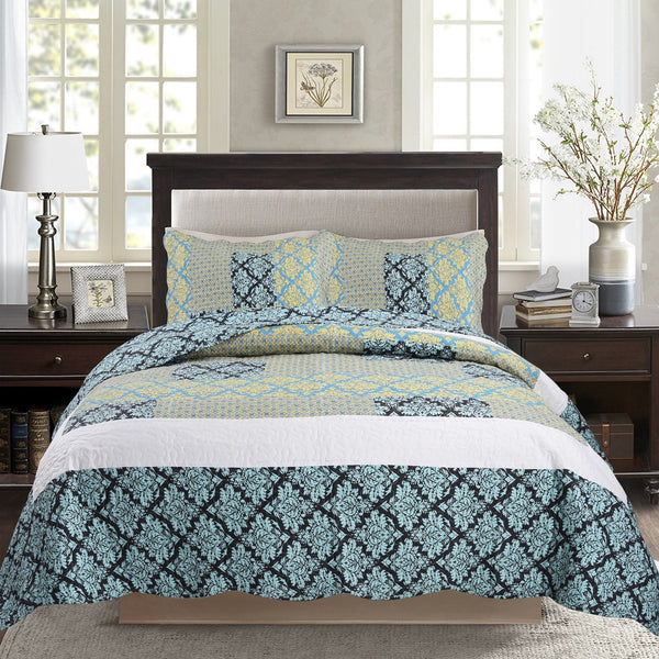 Bedspread - Tache 2-3 Piece Damask Turquoise Reversible Bedspread Set