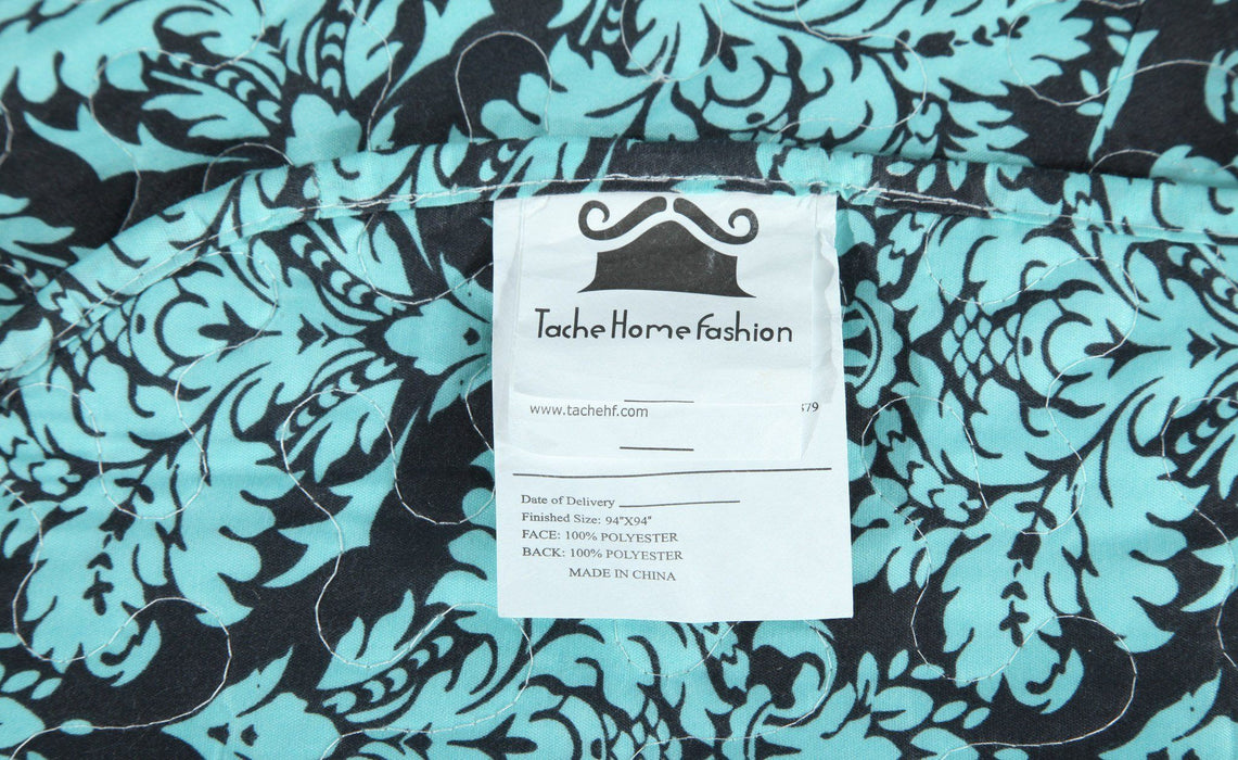 Tache Damask Paisley Teal Turquoise Scalloped Bedspread Set (SD-3300) - Tache Home Fashion