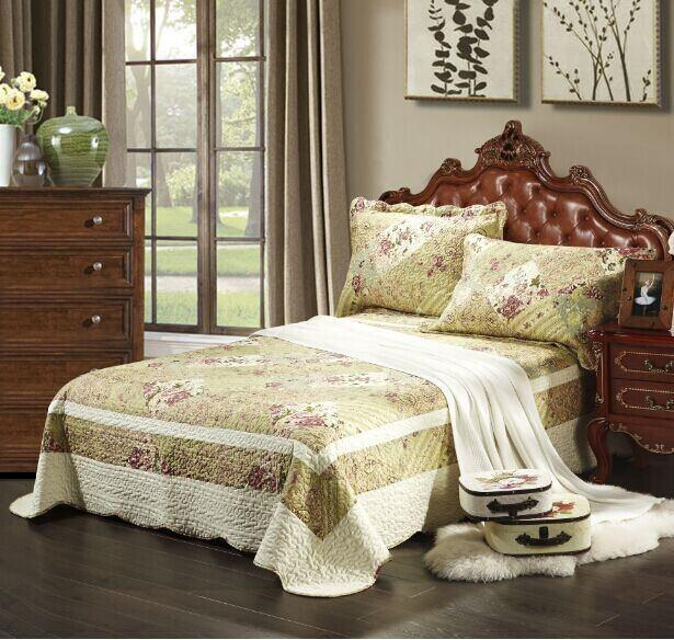 Tache 2-3 Piece Floral Sage Green Forest Cottage Reversible Bedspread Quilt Set (SD2377) - Tache Home Fashion