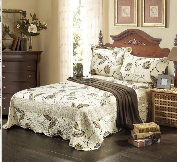 Tache Striped Floral Ivory Scalloped Seasons Eve Bedspread Set (SD2338) - Tache Home Fashion
