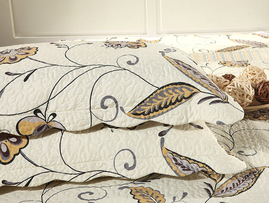Tache Floral Seasons Eve Reversible Bedspread Quilt Set (SD2338) - Tache Home Fashion