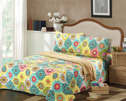 Tache Geo Multi Spring Flower Reversible Bedspread Set (SD3199) - Tache Home Fashion