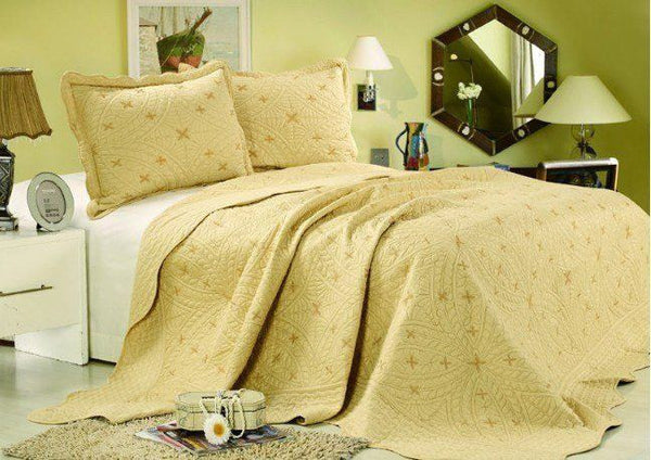 Bedspread - Tache 2-3 Piece Geometric Yellow Golden Stars Bedspread Set