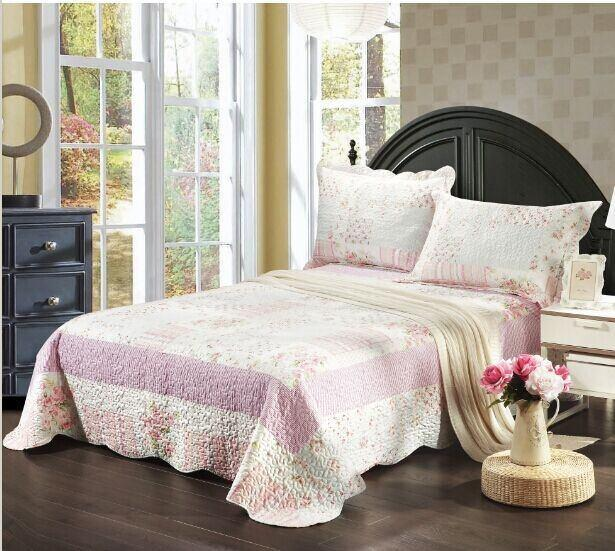 Tache 2-3 Piece Pink Wildflower Picnic Reversible Patchwork Bedspread Set (TASD2307) - Tache Home Fashion