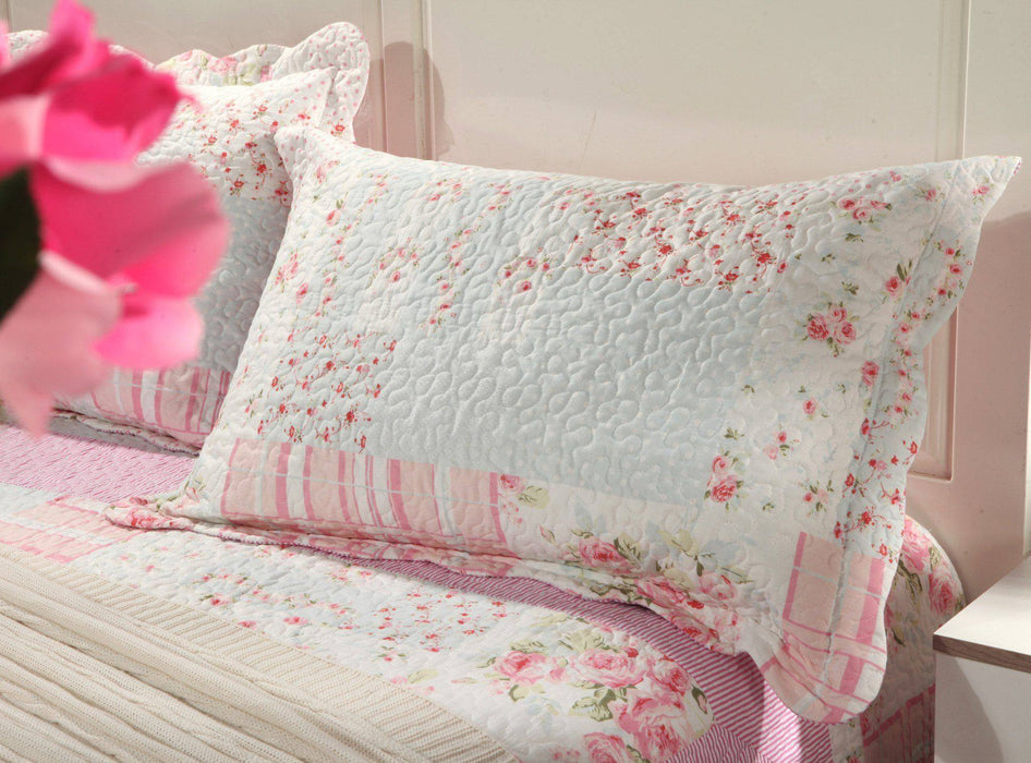 Tache 2-3 Piece Pink Wildflower Picnic Reversible Patchwork Bedspread Set (SD2307) - Tache Home Fashion