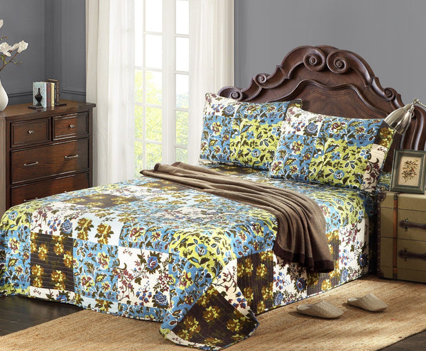 Tache 3 Pc Cotton Mystical Autumn Leaves Bedspread Set