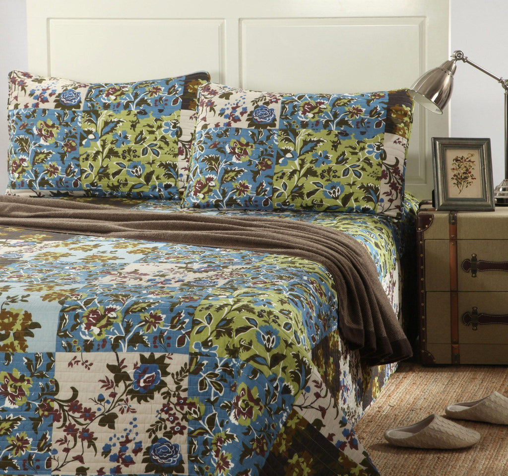 Bedspread - Tache  3 PC 100% Cotton Patchwork Blue Brown Mystical Autumn Leaves Bedspread Set