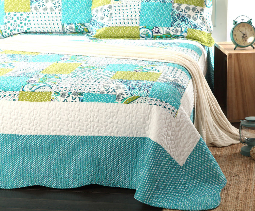 Tache Paisley Floral White Blue Green Scalloped Spring Pond Bedspread Set (SDB0) - Tache Home Fashion