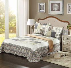 Tache Striped Beige Gray Floral Scalloped Morning Galore Bedspread Set (SD2876) - Tache Home Fashion