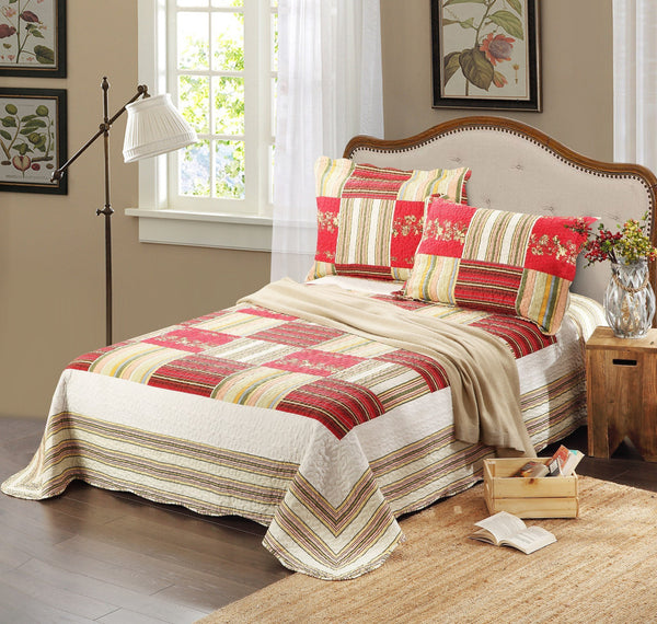 Bedspread - Tache 3 PC Red Print Patchwork Checkmate Bedspread Quilt Set