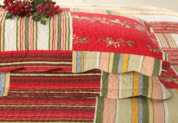Tache 3 Pc Red Print Patchwork Checkmate Bedspread Quilt